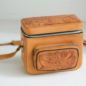 Vintage leather Hand Tooled Structured Camera Case